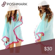 ❣️SALE🏝❤️Pom Pom Swimwear Beachwear Cover Polyester & Cotton, Pom Pom Design, Fashion And Sexy, Beautiful Styles Beachside Designs Fit XS To -M Loose Style, Easy to put on or take off, perfect buddy to any swimsuits, Great For Beach, Resorts, Swimming Pools Swim Coverups