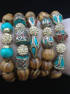 5 Bracelet stack with Tibetan vintage by addieandisaacjewelry