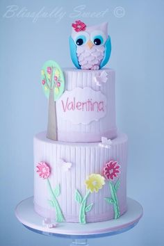 Owl Cake by Blissfully Sweet Pretty Cakes, Cute Cakes, Beautiful Cakes, Amazing Cakes, Bolo Fack, Owl Cakes, Ladybug Cakes, Funny Cake, Cake Wrecks