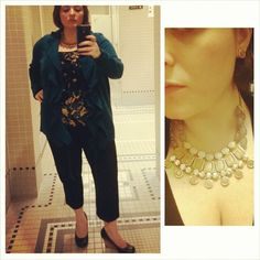 #ChubbyChique 9-22-2014 Black crop pants by Asos, floral camisole by Ann Taylor Loft, turquoise sweater cardigan, black wedge pumps by Seychelles, tan and gray necklace and earrings by Dazzley