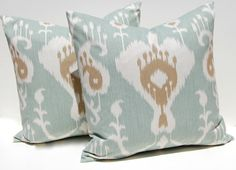 Decorative Throw Pillow Covers IKAT Pillows 20 x 20 Ikat in Seafoam Green with Brown Accents SAME Fabric Front and Back. $42.00, via Etsy.