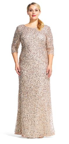 Scoop Back Sequin Gown with Three Quarter Sleeves - Plus Size Wedding Guest Dresses - Ideas of Plus Size Wedding Guest Dresses - Adrianna Papell Plus Size Formal, Plus Size Long Dresses, Plus Size Wedding Guest Dresses, Plus Size Gowns, Trendy Dresses, Plus Size Outfits, Trendy Clothing, Vintage Clothing, Fashion Dresses