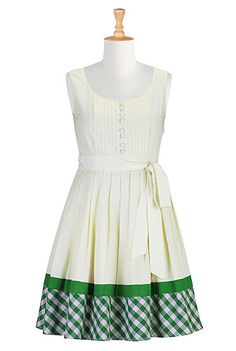 Gingham check trim poplin dress-- this is a great example how to extend an existing dress for added length