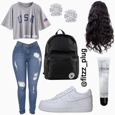 Swag Outfits For Girls, Cute Teen Outfits, Teenage Girl Outfits, Cute Comfy Outfits, Dope Outfits, Teen Fashion Outfits, Trendy Outfits, Freshman Outfits, School Outfits