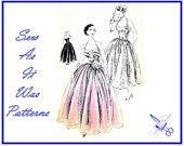 1950s Vogue 7413 Rare Evening Ball Gown Halter Neck Straps Full Flared Gored Skirt  Vintage Sewing Pattern  Size 16 Bust 36 Original Docket