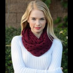 Beautiful Hole Patterned Infinity scarf-Burgundy Description: Hole patterned infinity scarf-Burgundy Accessories Scarves & Wraps