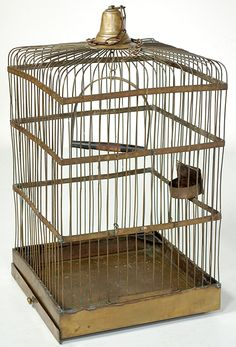 Antique French Birdcage: Crafted from brass and steel, this birdcage was meant for birds such as parrots, who with their strong beaks could quickly break out of wooden cages. Crafted by hand during the peak of avian popularity of late 19th century Europe. During the 18th and 19th century bird keeping and elaborate birdcages such as this example became a status symbol. In the neoclassical era of Marie Antoinette an exotic bird in a cage would have been an ultimate gift. Canary Singing, Mosaic Books, Bird In A Cage, Antique Bird Cages, The Caged Bird Sings, French Rococo, Bird Theme, Mosaic Diy, French Country Style