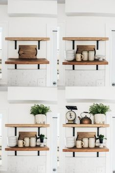 diy shelves How to Style Open Shelving in Six Easy Steps. Styling open shelving doesnt have to complicated. these simple steps for the shelves in your home. Kitchen Shelf Decor, Floating Shelves Kitchen, Home Decor Shelves, Open Shelving In Kitchen, Decorating Kitchen, Open Shelves, Bathroom Shelves, Room Kitchen, Kitchen Ideas
