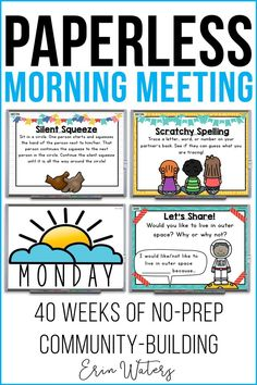 40 weeks of morning meetings (each day includes Message, Greeting, Share, & Activity components); no prep, engaging, whiteboard-based, digital, paperless