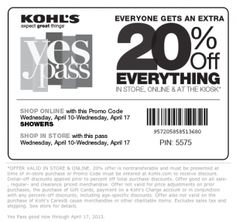 REPIN/LIKE Kohls Coupons 20 Off Special. This site posts daily coupons for all retail stores, and they always work!
