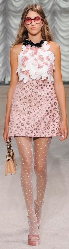 Giamba RTW Spring 2015 #floral. I simply fell in love with the shoes & of course the alluring Polka Dot Pantyhose! Eye catcher.