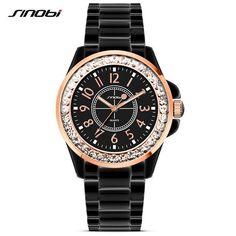 #DealOfTheDay #BestPrice SINOBI Fashion Women Diamonds Wrist Watches Imitation Ceramics Watchband Top Luxury Brand Dress Ladies Geneva…