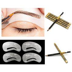 4 Alis Grooming Stensil Kit Makeup Alat + 1 Mata Pensil Alis Sikat Hadiah Yang Indah