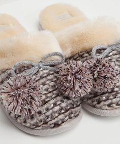 Clog style slippers in soft mixed fabric - OYSHO