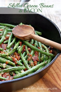 Skillet Green Beans and Bacon   Fresh green beans and crispy bacon, cooked on the stove top and ready in 15 minutes! #recipe