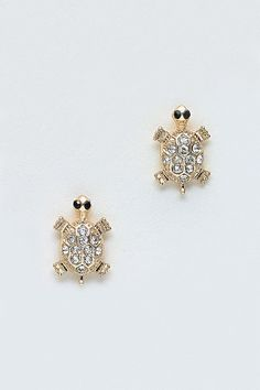 Crystal Turtle Earrings//