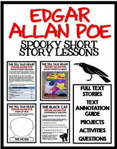 Edgar Allan Poe - Spooky Short Story Lessons for The Black Cat The Raven and The Tell Tale Heart! Full text of all stories included! Includes a text annotation guide comprehension questions projects and activities Middle School Reading, Middle School English, Teaching Literature, Teaching Reading, Learning, The Tell Tale Heart, 8th Grade Ela, English Classroom, English Teachers