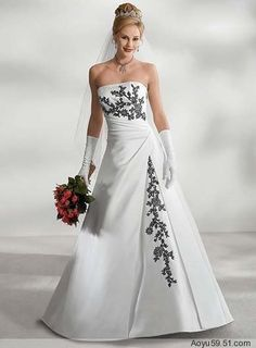 Wholesale - New prevalence Sexy White Black Embroidery Debutante Prom Gown Winter Wedding Dresses Custom Size, Free shipping, $119.90-158.70/Piece, 1 piece/Lot | DHgate.com