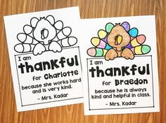 A free note to give your students to show them how thankful you are for them. This is perfect for sending home with you preschool, kindergarten, and first grade students over the Thanksgiving break. Thanksgiving Preschool, Thanksgiving Songs For Preschoolers, Teaching Calendar, Ec 3, Teaching Kindergarten, Teaching Ideas, Student Gifts, School Holidays, Favors