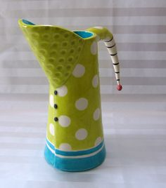 MaryJudy makes colorful ceramics, reminiscent of a cross between Dr. Suess and Beetlejuice.