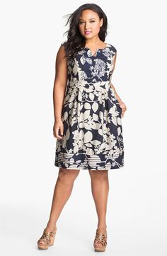 Stitched Print Fit & Flare Dress