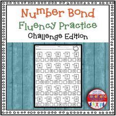 Number Bond Fluency Worksheets Addition by Kinesthetic Classroom | Teachers Pay Teachers