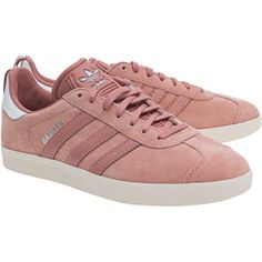 ADIDAS ORIGINALS Gazelle Raw Pink // Flat leather sneaker ($130) ❤ liked on Polyvore featuring shoes, sneakers, flat sneakers, leather sneakers, adidas originals trainers, pink trainers and rose pink shoes