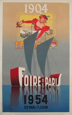 Foire de Paris  Item #: TRV-2678  Category: Travel  Artist: Solon  Circa: 1954  Origin: France  Dim: 24 1/2 x 39 1/4 in.