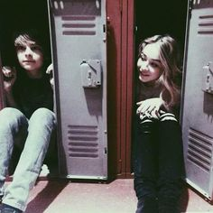 LOL. Corey Fogelmanis and Sabrina Carpenter trying to be like Riley. Hidden in the locker to keep her/his troubles to theirself . . .