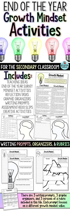 End of the year growth mindset activities and resources for middle school and high school students.