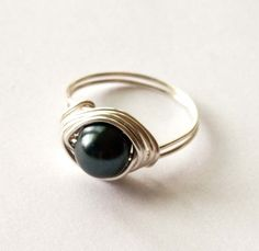 Black Pearl Ring by mlwdesigns on Etsy, $6.00