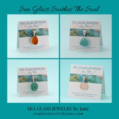 "Beautiful sea glass jewelry creations utilizing real sea glass because ""sea glass soothes the soul."""