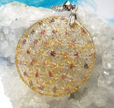 Orgonite / Orgone / Orgon pendant - Amulet - FLOWER OF LIFE - sacred geometry