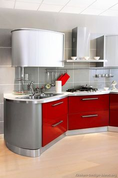 #Kitchen Idea of the Day: Modern Red Kitchens.