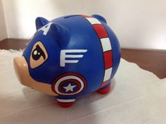 SAM*TINY Capitan America Trick Or Treat, Piggy Bank, Avengers, Valentines Day, Ceramics, Mini, Crafts, Gourd Art, Creative Products