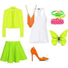 fluor by vasilisa-i on Polyvore featuring мода, Helmut by Helmut Lang, Antonio Berardi, Chalayan, McQ by Alexander McQueen, Oasis, MARC BY MARC JACOBS, CAROLINE BAGGI and Lori's Shoes