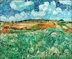 Vincent Van Gogh Plain Near Auvers Oil Painting Reproductions for sale Landscape Illustration, Watercolor Landscape, Landscape Paintings, Watercolour, Vincent Van Gogh, Van Gogh Pinturas, Van Gogh Landscapes, Van Gogh Paintings, Oil Painting Reproductions