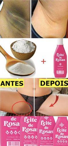 CLAREANDO MANCHAS COM: leite de rosas e bicabornato de sódio
