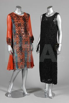 Two cut velvet cocktail dresses, circa 1924, one blue and orange with long chiffon sleeves; the other black with bow to one hip