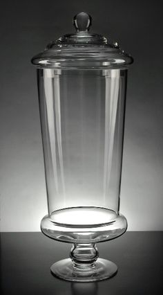 """Large glass display jars at discount prices.  Clear glass Apothecary Jars 19"""" with glass lid $15.95 each / 4 for $14.29 each"""