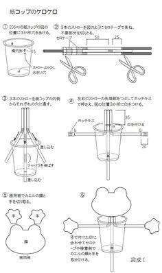 手作りおもちゃ・折り紙 作り方掲載 no063 真ん中のストローを上下するとカエルがケロケロガッガとうたいます。 このおもちゃの動画:https://www.youtube.com/watch?v=MVBbFsItUqk 手作りおもちゃの冊子 [た...