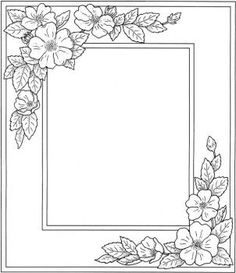 Photo Frame With Flowers coloring page - Free Printable Coloring Pages Printable Flower Coloring Pages, Coloring Book Pages, Coloring Sheets, Printable Flower Pictures, Adult Coloring, Page Borders Design, Border Design, Printable Frames, Parchment Cards
