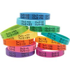 Multiplication Facts Bracelets! Love the colors!  I am going to get these for my intervention groups.