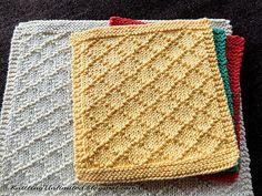 Diamond Brocade knitted dishcloth pattern - Washcloth - Ideas of Washcloth - Diamond Brocade knitted dishcloth pattern Baby Knitting Patterns, Knitted Dishcloth Patterns Free, Knitted Washcloths, Crochet Dishcloths, Knit Or Crochet, Stitch Patterns, Crochet Patterns, Cowl Patterns, Tear