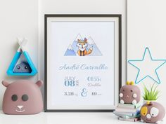 'Jimmy the Fox' is a super cute hand drawn Birth Announcement design from our 'Day One' collection, suitable for all nurseries or baby and toddler room.  'Day One' is all about the memories of one of the best days of our lives - the day your baby gave their first breath and, surely, a day you will never forget.  This artwork will be a beautiful and elegant finishing touch to your baby's nursery and it also makes the perfect gift for new parents. Newborn Birth Announcements, Baby Room Wall Decor, Baby Birthday Cakes, Birth Weight, Gifts For New Parents, Nursery Signs, Nurseries, Baby Names, Hand Drawn