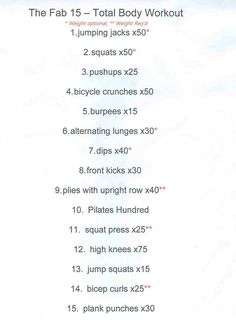 Boot camp workout