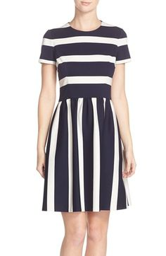 Free shipping and returns on Eliza J Stripe Knit Fit & Flare Dress (Regular & Petite) at Nordstrom.com. A classically femme dress transitions seamlessly from the workweek to weekend in bold nautical stripes that shift direction at the flattering Empire waist.