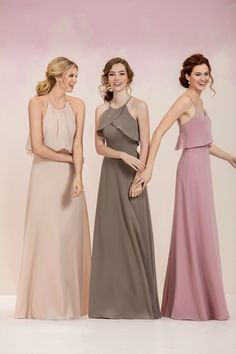 Ruffled Flowy Dresses for Bridesmaid, MOB or Mitzvah Mom by Jasmine Bridal - mazelmoments.com