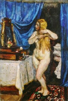 Кончаловский Петр Петрович (1976-1956) «Натурщица с рыжими волосами перед зеркалом» 1923
