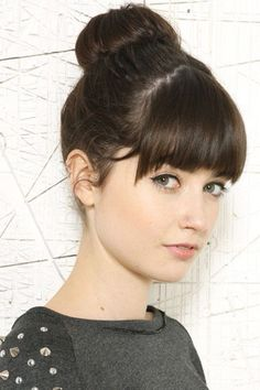 Full bangs with angled sides